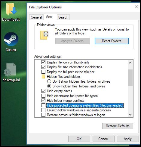 Folder Options 1